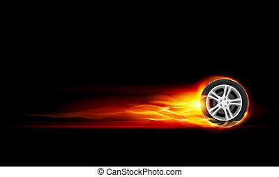 Burning wheel - Red Burning wheel. Illustration on black...