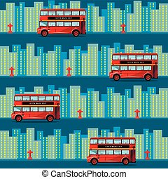 Red bus in the city. Seamless pattern.