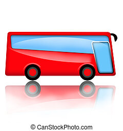 Modern red bus illustration isolated on white background