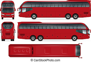 Red bus vector mockup