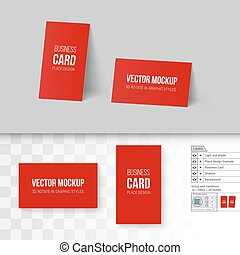 Branding Mock Up - Red Business Cards Template. Corporate ...