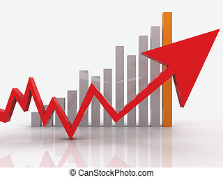 Red business graph