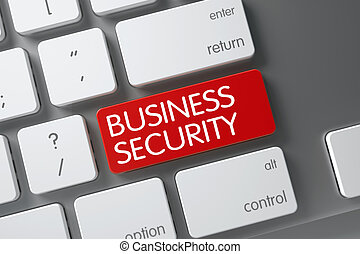 Red Business Security Button on Keyboard. 3D