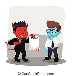 Red businessman evil offering contract to blue businessman