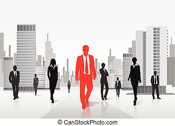 red businessman silhouette over city background