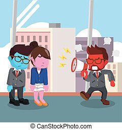 Red businessman yelling at his employee