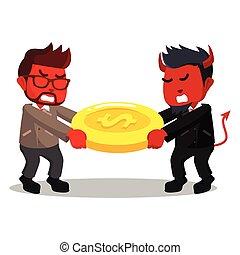 Red businessmen evil fights over for money pulling the money...