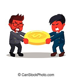 Red businessmen fights over for money pulling money