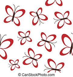 red butterflies seamless