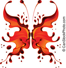 Red butterfly-blot for desigh. No mesh or blends. Various...