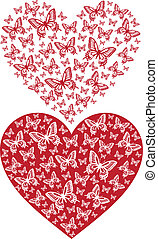 red butterfly heart, vector