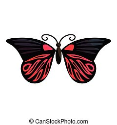 Red butterfly icon, cartoon style