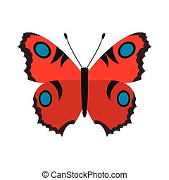 Red butterfly icon in flat style