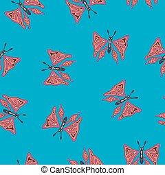 red butterfly in blue field, pattern