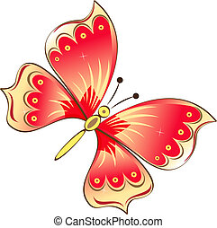 Red butterfly isolated on white vector illustration.