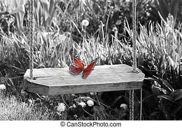 purity - Red butterfly on black and white background.....