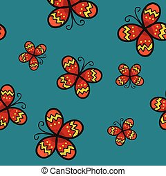 Red Butterfly on Green Teal Background.