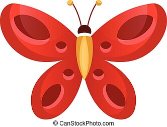 Red butterfly vector illustration on a white background