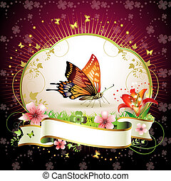 Red butterfly with flowers