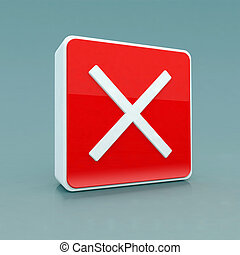 red button close icon 3d