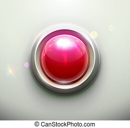 red button - illustration of shiny red emergency button