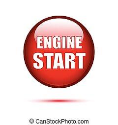 Red button Engine Start on white