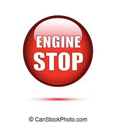 Red button Engine stop on white