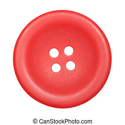 red button for clothes isolated on white background, top view