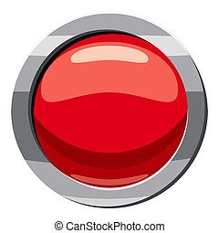 Red button icon, cartoon style