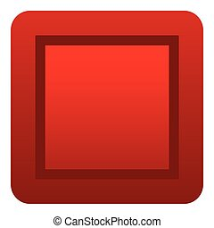 Red button icon, flat style