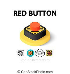 Red button icon in different style