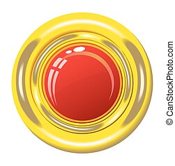 Red button in gold frame.