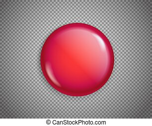 Red button isolated on transparent background vector illustration