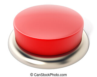 Red button isolated on white background. 3D illustration