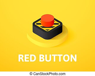 Red button isometric icon, isolated on color background