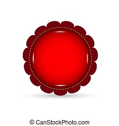 Red button on a white background. Vector illustration.