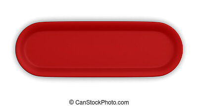 red button on white background. Isolated 3d illustration