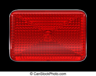Red button or headlight isolated over black