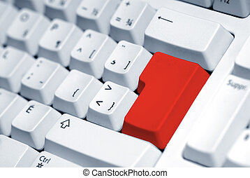 Red button - computer keyboard with a blank red button