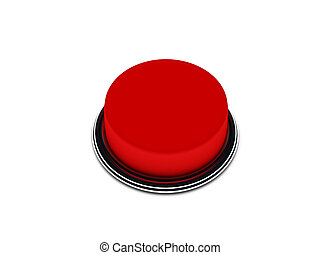 Red button isolated on white background. High quality 3d...