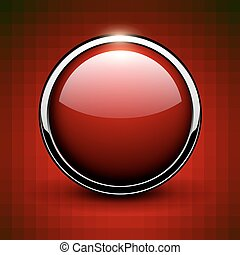 Red button shiny metallic