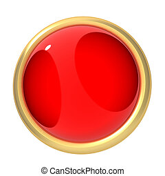 red button - 3d rendered illustration of a simple, gold, red...