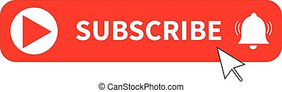 red button subscribe of channel on white background. subscribe button sign. subscribe button for social media symbol. subscribe to video channel, blog and newsletter. flat style