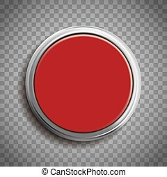 Red button template isolated on transparent background