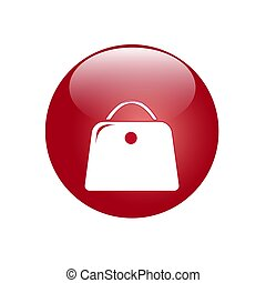 Red button with a bag icon. Vector image for your design.
