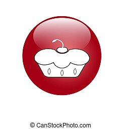 Red button with cupcakes. Vector image for your design.