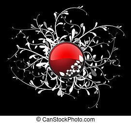 Red button with floral elements