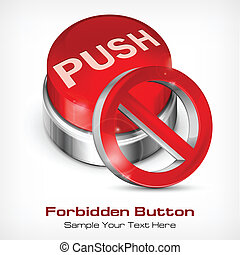 Red button with forbidden icon