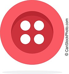 Red button with four holes vector flat isolated
