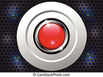 Red button with metallic border, vector illustration